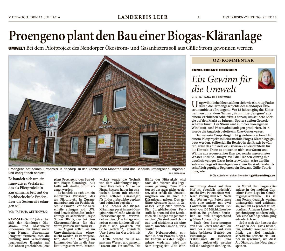 Zeitungsartikel der OZ ueber die Studie einer Biogaskläranlage von Proengeno