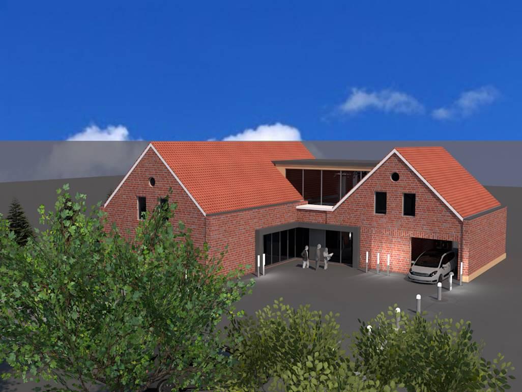Plan und Zeichnungen vom Umbau des Bürogebäudes