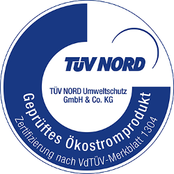 Siegel vom TÜV-Nord, geprüftes Ökostrom Produkt.
