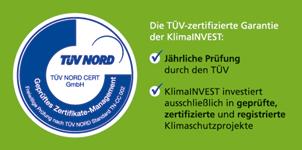 TÜV Nord Zertifikat für Klimainvest.