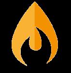 Stilisierte Flamme als Zeichen fuer Gas.
